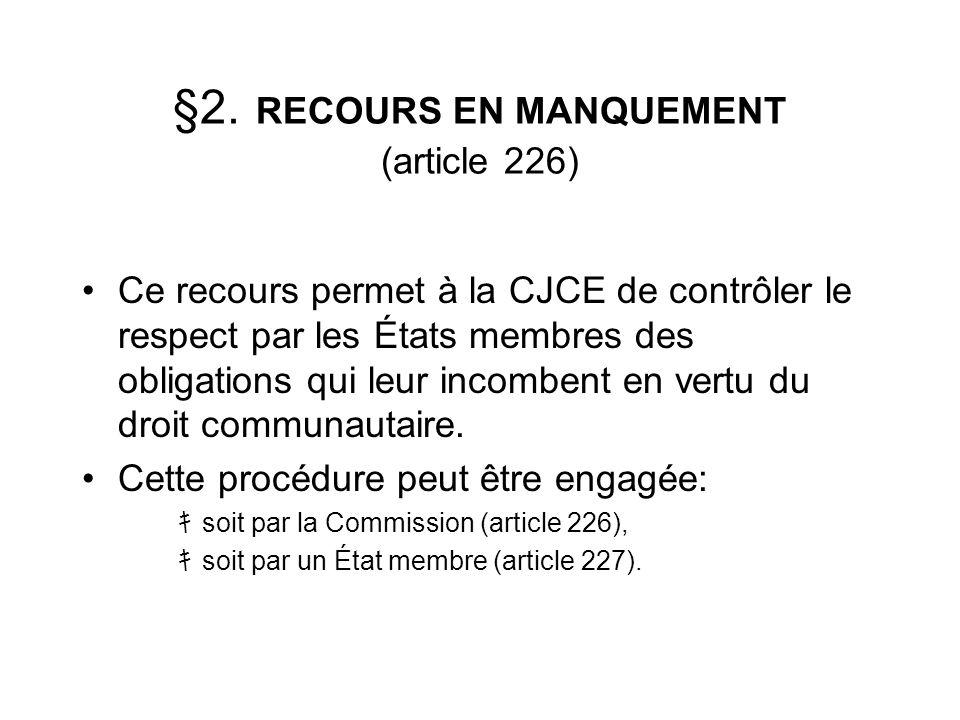 §2. RECOURS EN MANQUEMENT (article 226) Ce recours permet à la CJCE de contrôler le respect par les États membres des obligations qui leur incombent e