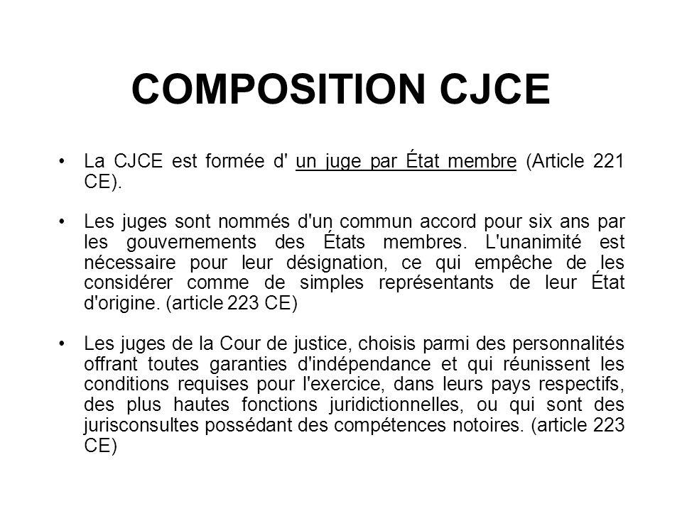 COMPOSITION CJCE La CJCE est formée d' un juge par État membre (Article 221 CE). Les juges sont nommés d'un commun accord pour six ans par les gouvern