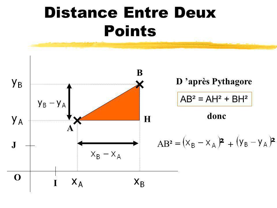 Distance Entre Deux Points O I J A B H Le côté [BH] mesure A B yy