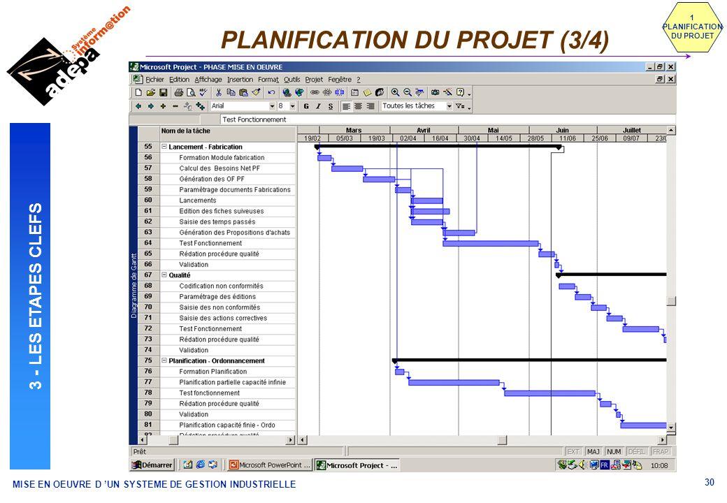 MISE EN OEUVRE D UN SYSTEME DE GESTION INDUSTRIELLE 30 PLANIFICATION DU PROJET (3/4) 1 PLANIFICATION DU PROJET 3 - LES ETAPES CLEFS