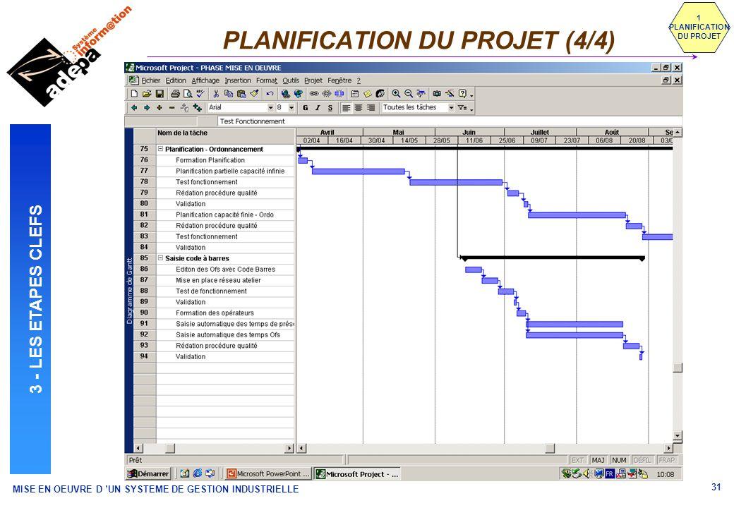 MISE EN OEUVRE D UN SYSTEME DE GESTION INDUSTRIELLE 31 PLANIFICATION DU PROJET (4/4) 1 PLANIFICATION DU PROJET 3 - LES ETAPES CLEFS