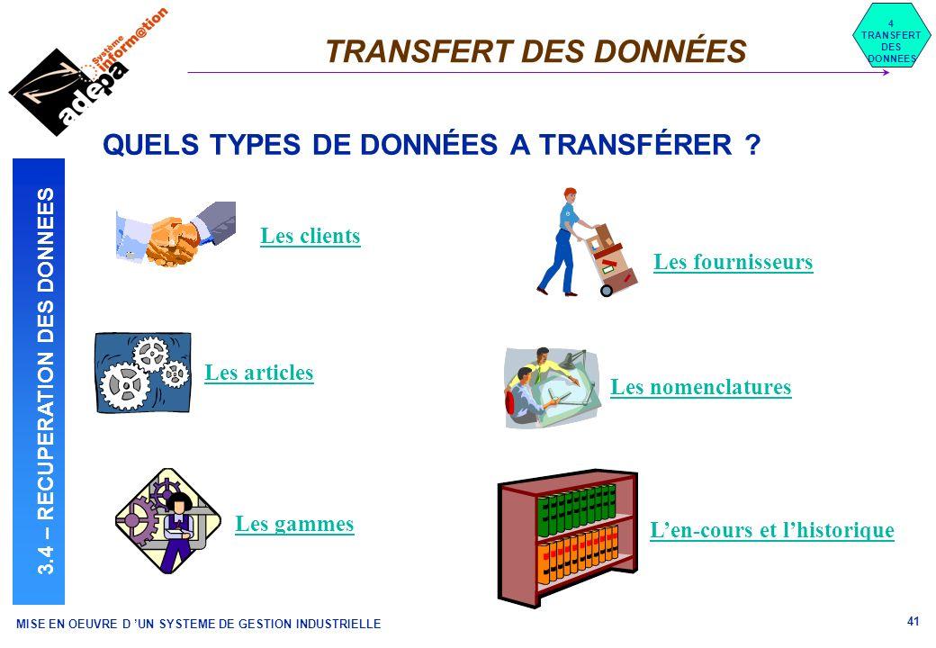 MISE EN OEUVRE D UN SYSTEME DE GESTION INDUSTRIELLE 41 TRANSFERT DES DONNÉES 4 TRANSFERT DES DONNEES 3.4 – RECUPERATION DES DONNEES QUELS TYPES DE DON