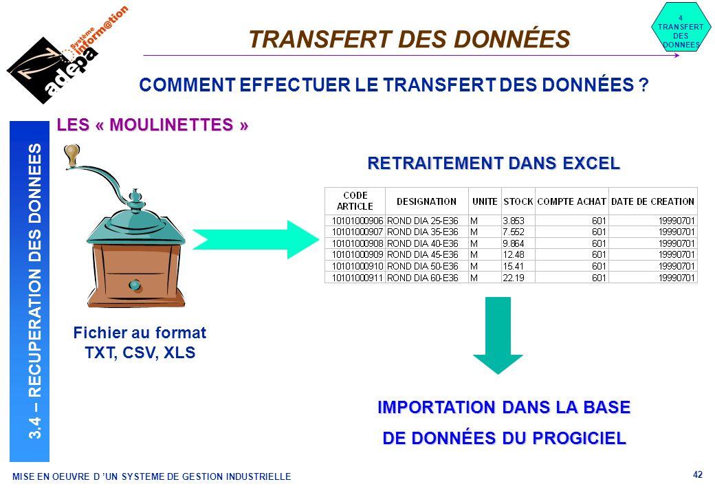 MISE EN OEUVRE D UN SYSTEME DE GESTION INDUSTRIELLE 42 TRANSFERT DES DONNÉES 4 TRANSFERT DES DONNEES 3.4 – RECUPERATION DES DONNEES COMMENT EFFECTUER