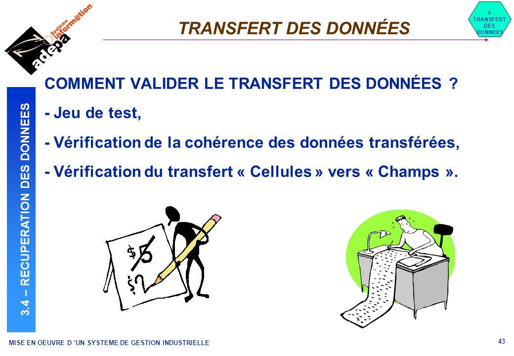 MISE EN OEUVRE D UN SYSTEME DE GESTION INDUSTRIELLE 43 TRANSFERT DES DONNÉES 4 TRANSFERT DES DONNEES 3.4 – RECUPERATION DES DONNEES COMMENT VALIDER LE