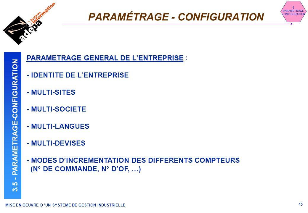 MISE EN OEUVRE D UN SYSTEME DE GESTION INDUSTRIELLE 45 PARAMÉTRAGE - CONFIGURATION 5 PARAMETRAGE CONFIGURATION 3.5 - PARAMETRAGE-CONFIGURATION PARAMET