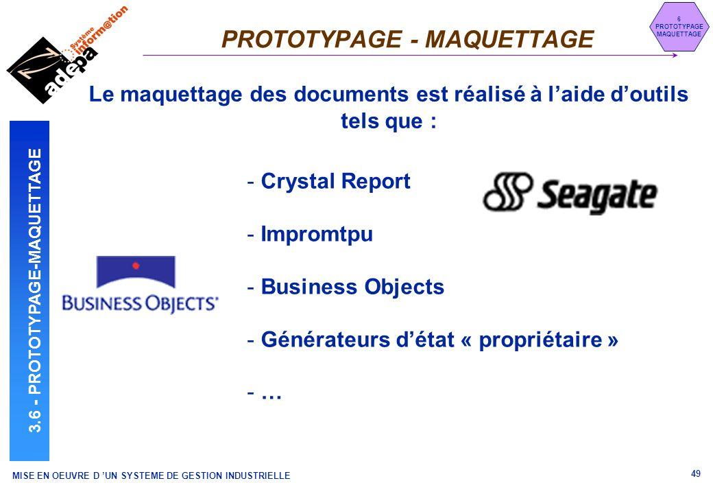 MISE EN OEUVRE D UN SYSTEME DE GESTION INDUSTRIELLE 49 PROTOTYPAGE - MAQUETTAGE 6 PROTOTYPAGE MAQUETTAGE 3.6 - PROTOTYPAGE-MAQUETTAGE Le maquettage de