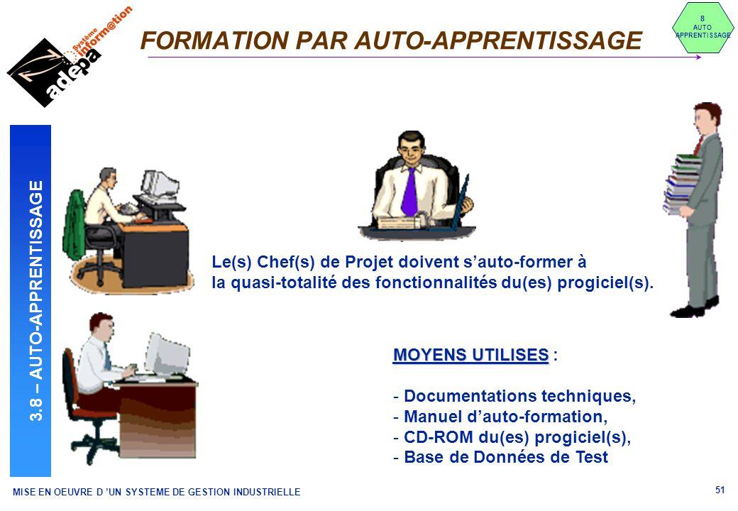 MISE EN OEUVRE D UN SYSTEME DE GESTION INDUSTRIELLE 51 FORMATION PAR AUTO-APPRENTISSAGE 8 AUTO APPRENTISSAGE 3.8 – AUTO-APPRENTISSAGE MOYENS UTILISES