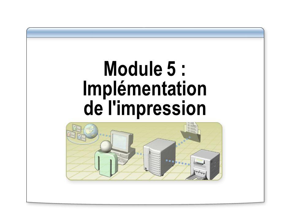 Vue d ensemble Présentation de l impression dans la famille Windows Server 2003 Installation et partage d imprimantes Administration des accès aux imprimantes à l aide d autorisations d imprimantes partagées Gestion des pilotes d imprimantes Implémentation d emplacements d imprimantes