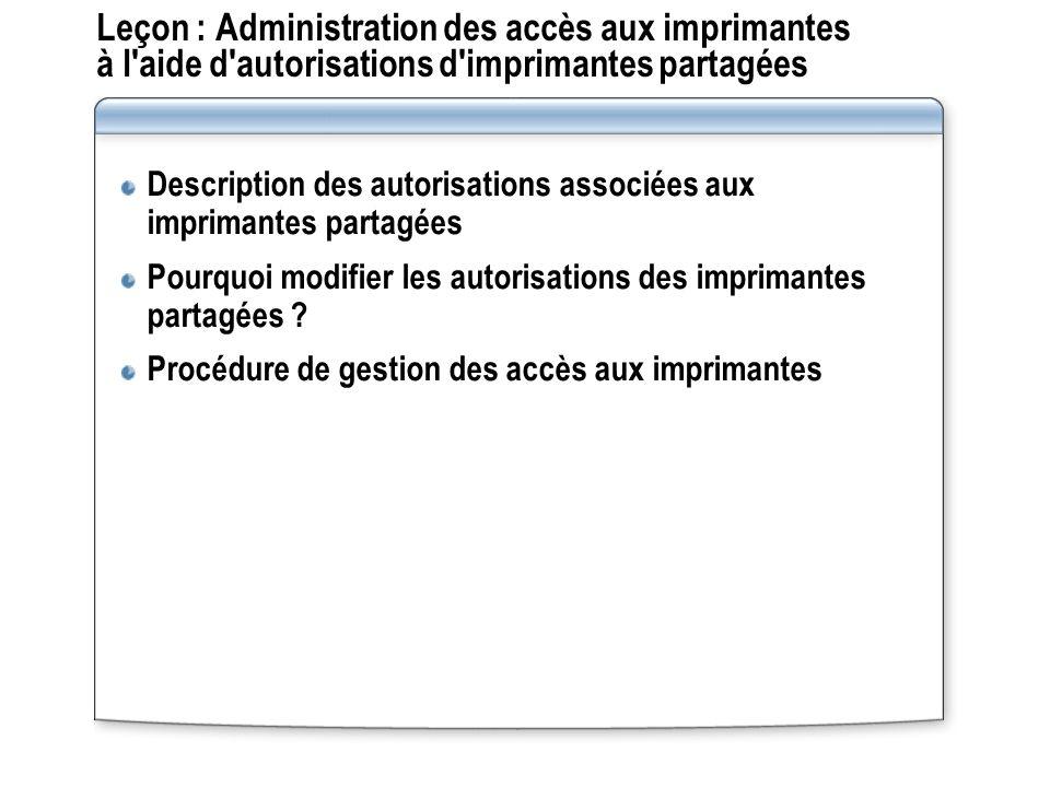 Leçon : Administration des accès aux imprimantes à l'aide d'autorisations d'imprimantes partagées Description des autorisations associées aux impriman