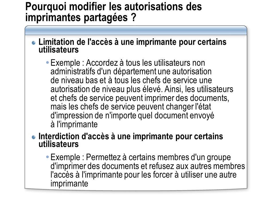 Pourquoi modifier les autorisations des imprimantes partagées ? Limitation de l'accès à une imprimante pour certains utilisateurs Exemple : Accordez à