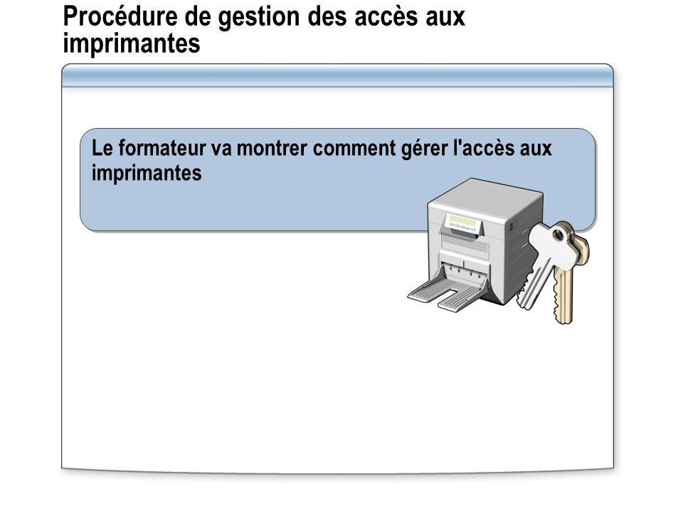 Procédure de gestion des accès aux imprimantes Le formateur va montrer comment gérer l'accès aux imprimantes
