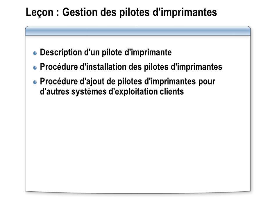 Leçon : Gestion des pilotes d'imprimantes Description d'un pilote d'imprimante Procédure d'installation des pilotes d'imprimantes Procédure d'ajout de