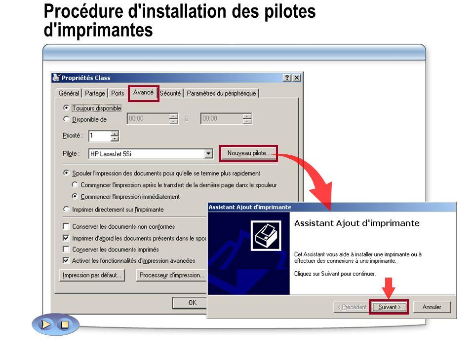 Procédure d'installation des pilotes d'imprimantes