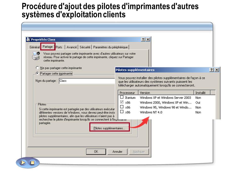 Procédure d'ajout des pilotes d'imprimantes d'autres systèmes d'exploitation clients