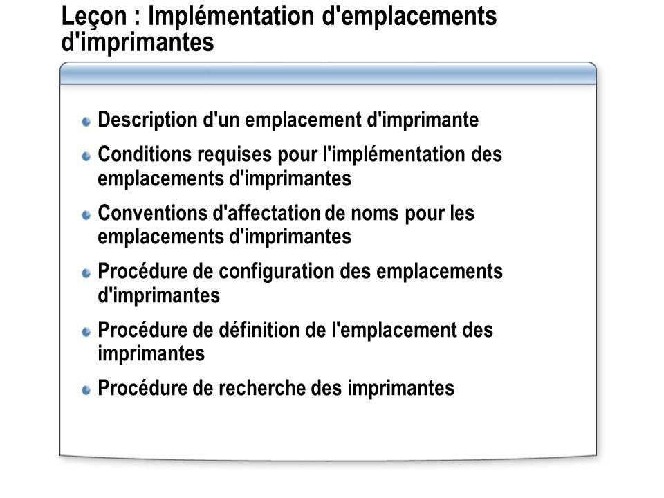 Leçon : Implémentation d'emplacements d'imprimantes Description d'un emplacement d'imprimante Conditions requises pour l'implémentation des emplacemen