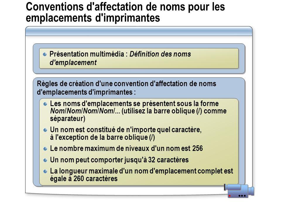 Conventions d'affectation de noms pour les emplacements d'imprimantes Règles de création d'une convention d'affectation de noms d'emplacements d'impri