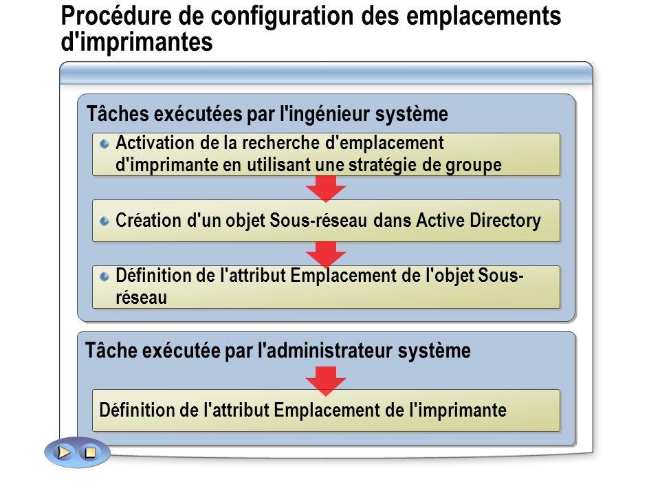 Procédure de configuration des emplacements d'imprimantes Tâches exécutées par l'ingénieur système Activation de la recherche d'emplacement d'impriman