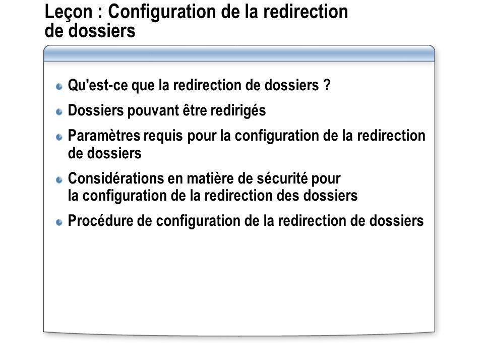 Leçon : Configuration de la redirection de dossiers Qu'est-ce que la redirection de dossiers ? Dossiers pouvant être redirigés Paramètres requis pour