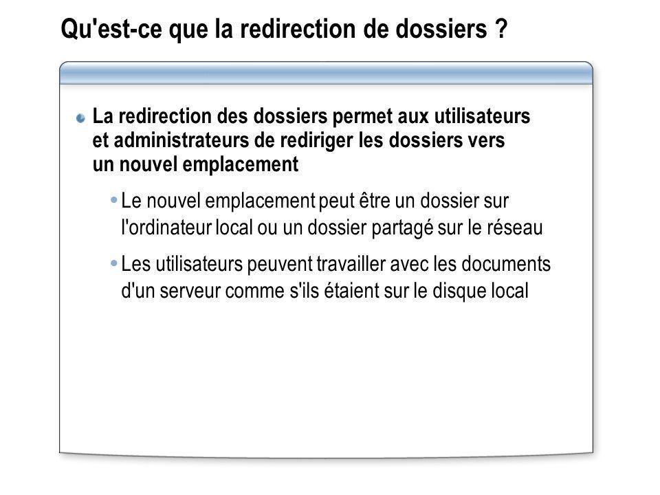Qu'est-ce que la redirection de dossiers ? La redirection des dossiers permet aux utilisateurs et administrateurs de rediriger les dossiers vers un no
