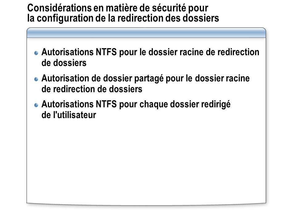 Considérations en matière de sécurité pour la configuration de la redirection des dossiers Autorisations NTFS pour le dossier racine de redirection de