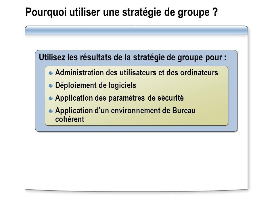 Pourquoi utiliser une stratégie de groupe ? Utilisez les résultats de la stratégie de groupe pour : Administration des utilisateurs et des ordinateurs