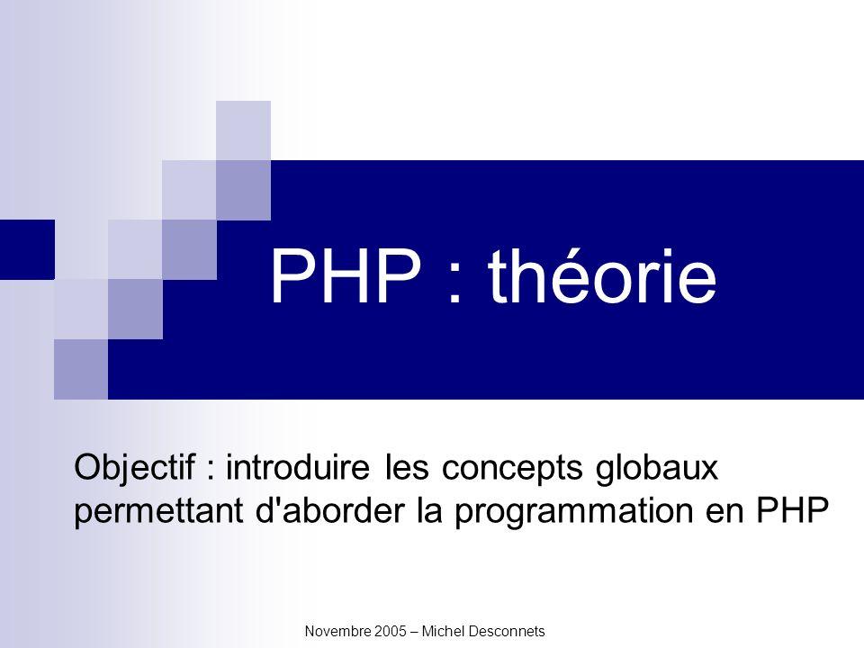 Novembre 2005 – Michel Desconnets PHP : théorie Objectif : introduire les concepts globaux permettant d aborder la programmation en PHP
