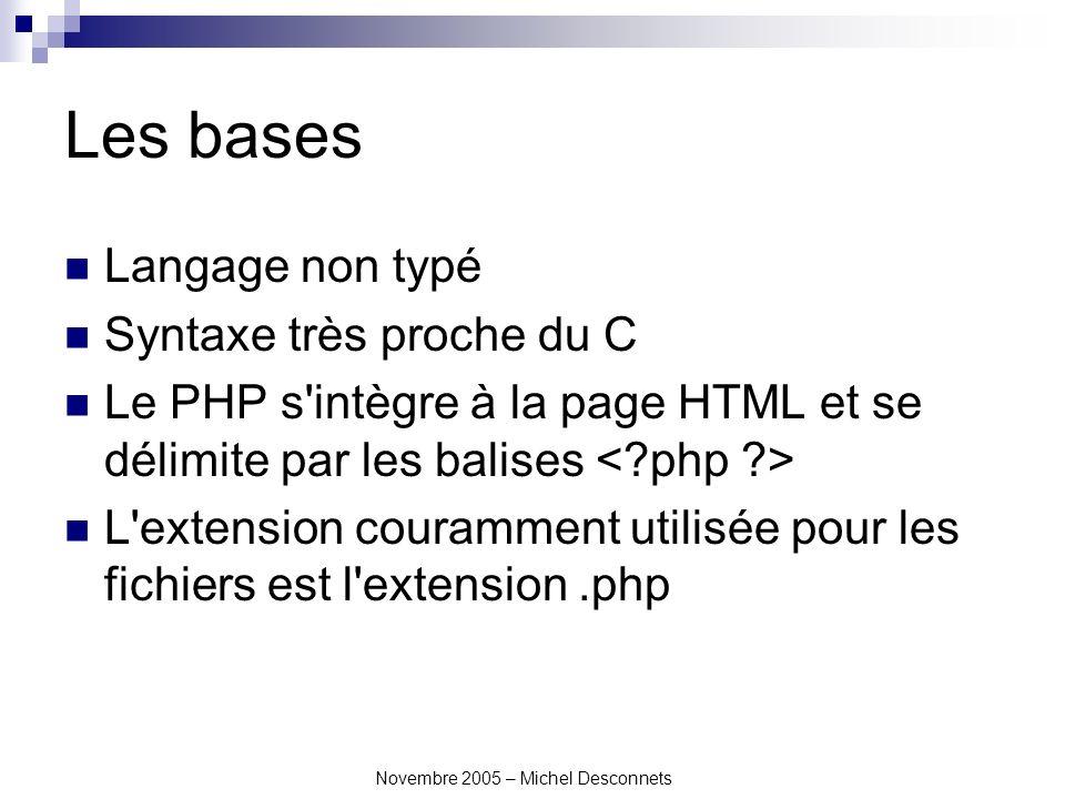 Novembre 2005 – Michel Desconnets Les bases Langage non typé Syntaxe très proche du C Le PHP s intègre à la page HTML et se délimite par les balises L extension couramment utilisée pour les fichiers est l extension.php