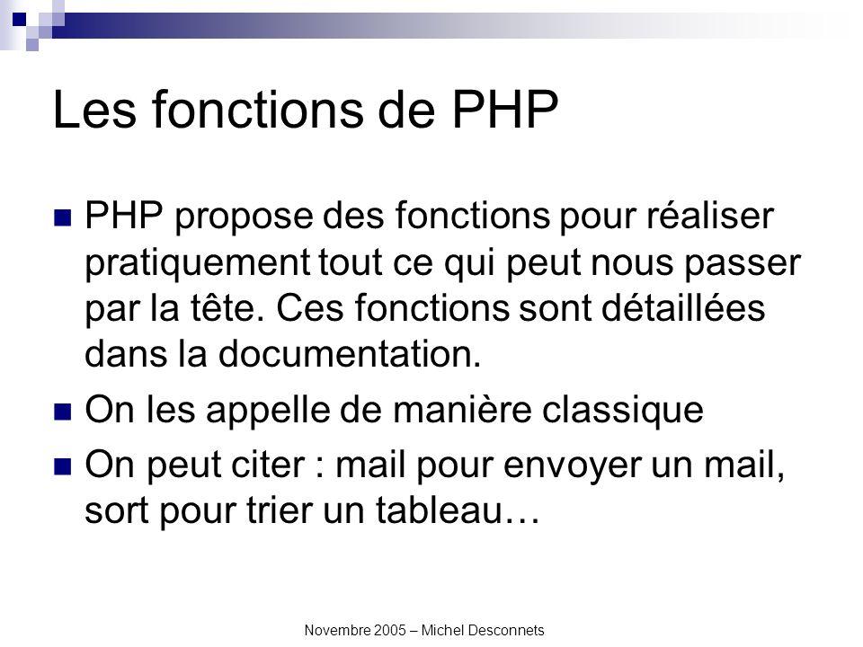 Novembre 2005 – Michel Desconnets Les fonctions de PHP PHP propose des fonctions pour réaliser pratiquement tout ce qui peut nous passer par la tête.