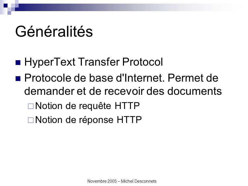 Novembre 2005 – Michel Desconnets Principe Serveur web Client Navigateur Requête HTTP Réponse HTTP Toute la communication entre le client et le serveur se fait par une requête HTTP qui entraîne une réponse HTTP.