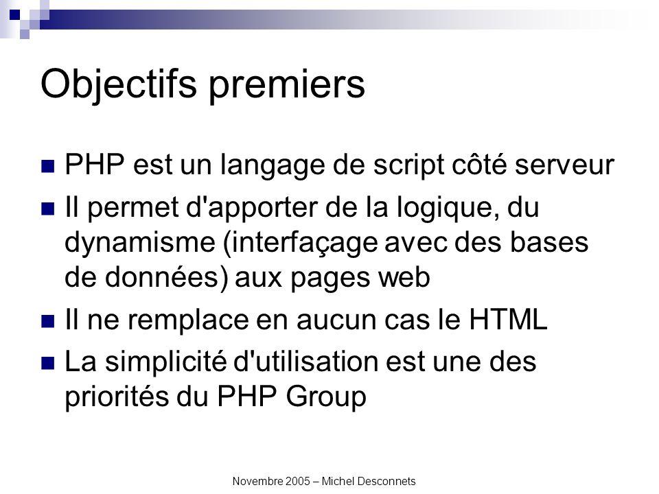 Novembre 2005 – Michel Desconnets Objectifs premiers PHP est un langage de script côté serveur Il permet d apporter de la logique, du dynamisme (interfaçage avec des bases de données) aux pages web Il ne remplace en aucun cas le HTML La simplicité d utilisation est une des priorités du PHP Group