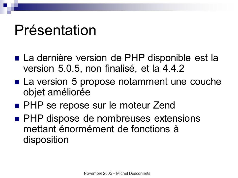 Novembre 2005 – Michel Desconnets Les inclusions PHP permet d inclure une page à l intérieur d une autre.
