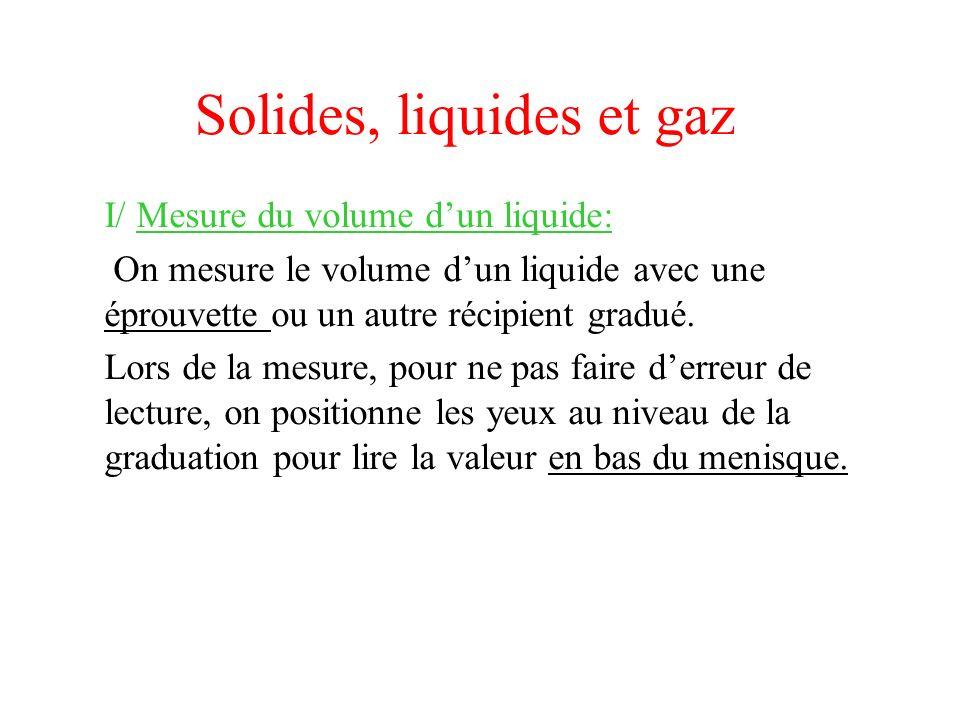 Solides, liquides et gaz I/ Mesure du volume dun liquide: On mesure le volume dun liquide avec une éprouvette ou un autre récipient gradué. Lors de la