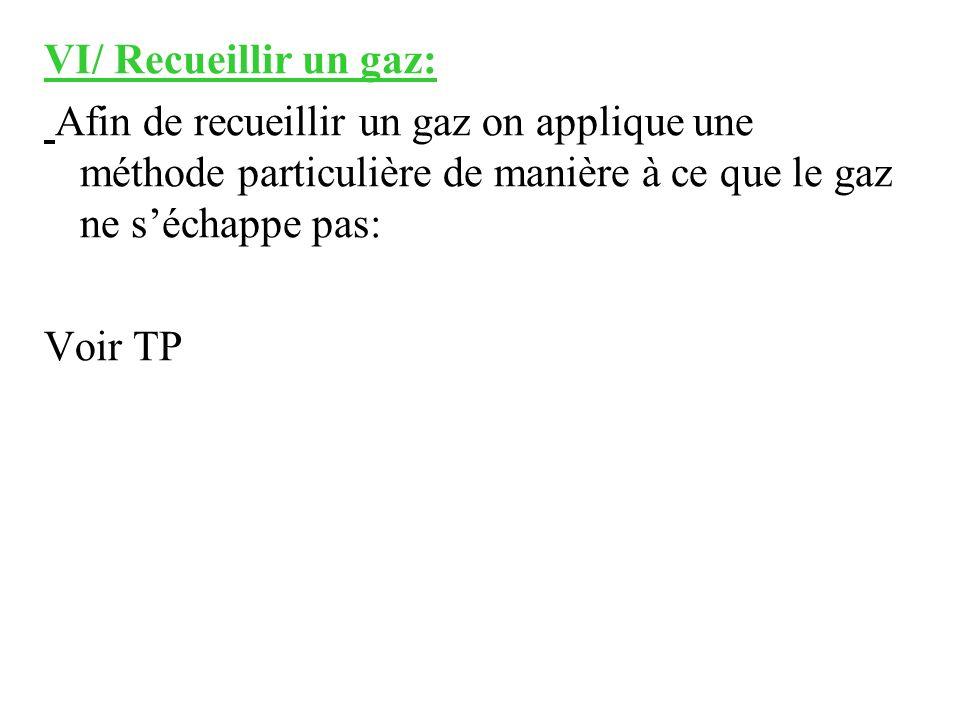 VI/ Recueillir un gaz: Afin de recueillir un gaz on applique une méthode particulière de manière à ce que le gaz ne séchappe pas: Voir TP