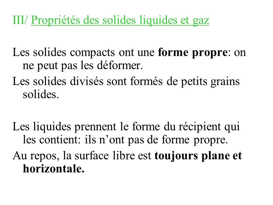 III/ Propriétés des solides liquides et gaz Les solides compacts ont une forme propre: on ne peut pas les déformer. Les solides divisés sont formés de