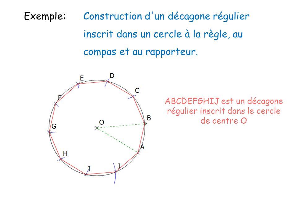 Exemple: Construction d'un décagone régulier inscrit dans un cercle à la règle, au compas et au rapporteur. Cliquez sur licône pour voir lanimation AB