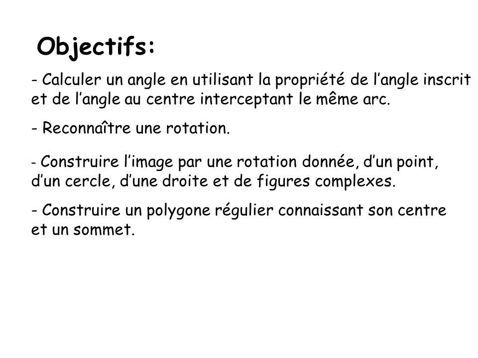 Objectifs: - Calculer un angle en utilisant la propriété de langle inscrit et de langle au centre interceptant le même arc. - Reconnaître une rotation