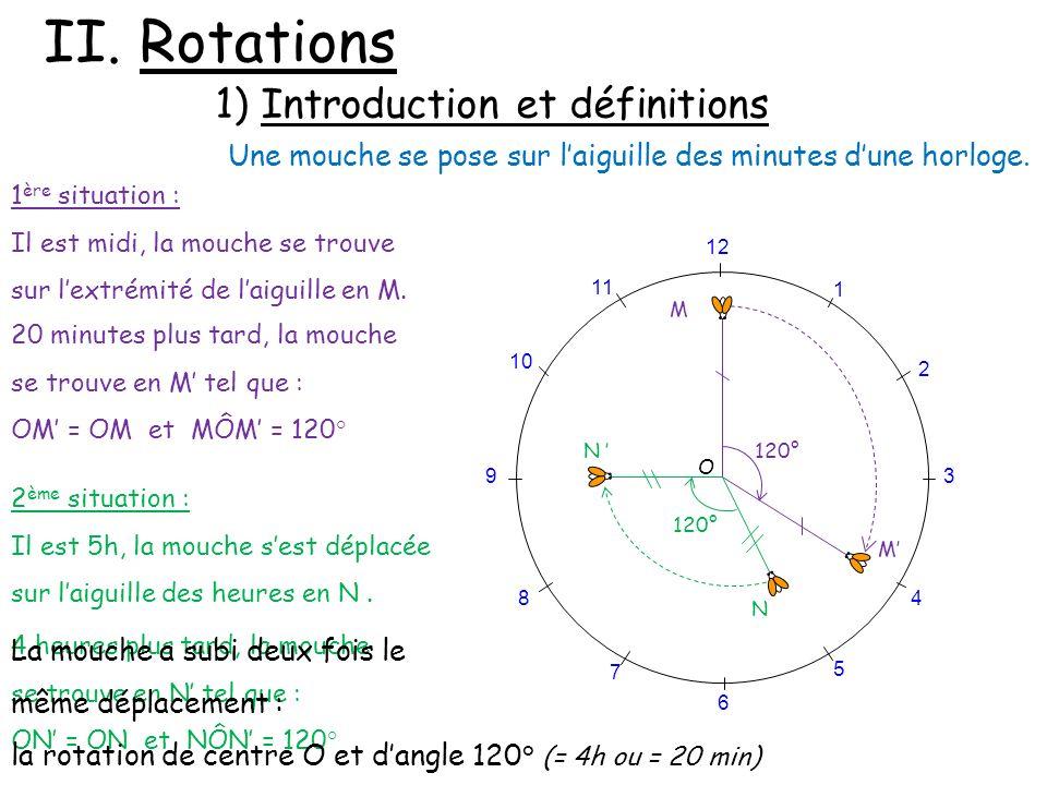 II. Rotations 1) Introduction et définitions Une mouche se pose sur laiguille des minutes dune horloge. 12 120° 1 2 3 4 5 6 7 8 9 10 11 120° N M M N O