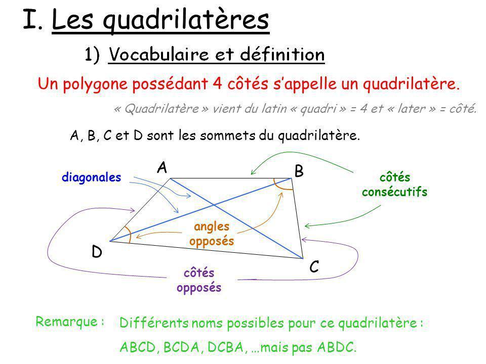 I. Les quadrilatères Un polygone possédant 4 côtés sappelle un quadrilatère. « Quadrilatère » vient du latin « quadri » = 4 et « later » = côté. A B C