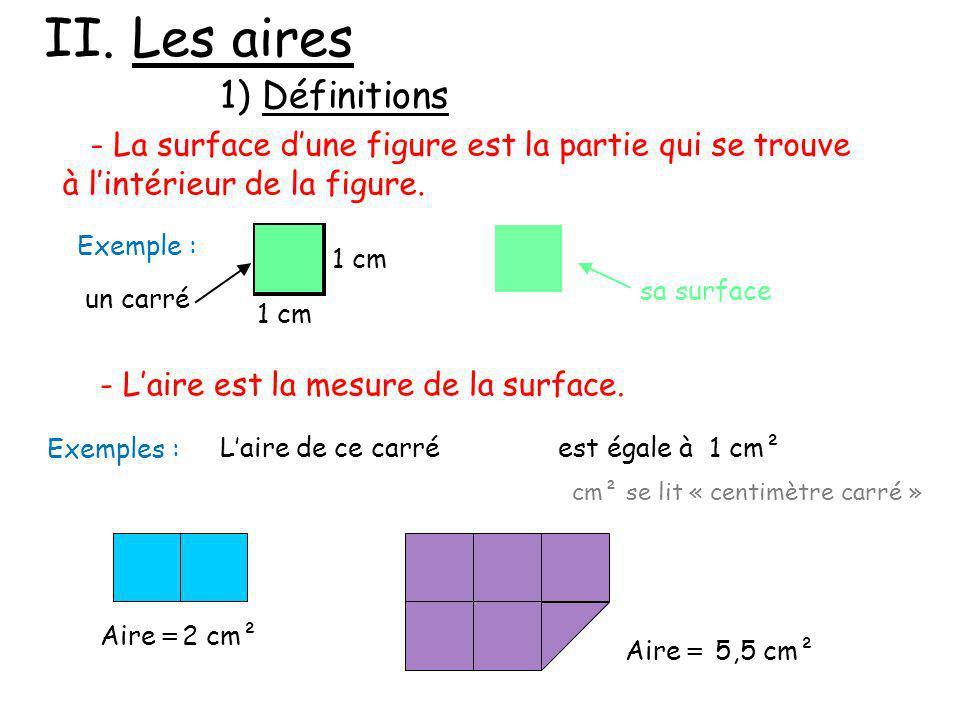 II. Les aires 1) Définitions - La surface dune figure est la partie qui se trouve à lintérieur de la figure. - Laire est la mesure de la surface. 1 cm