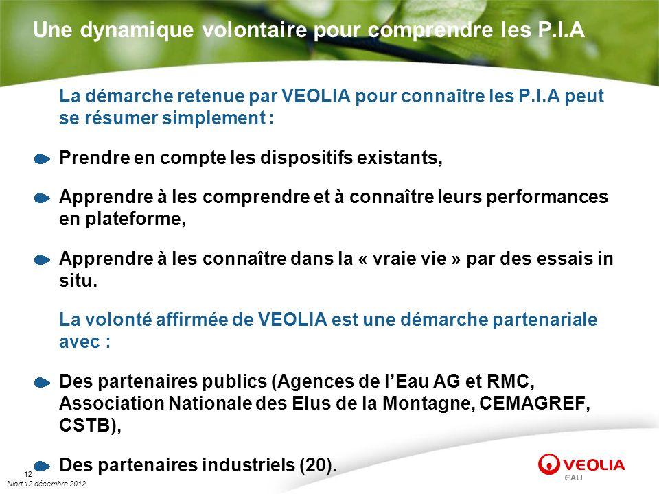 Niort 12 décembre 2012 12 - Une dynamique volontaire pour comprendre les P.I.A La démarche retenue par VEOLIA pour connaître les P.I.A peut se résumer