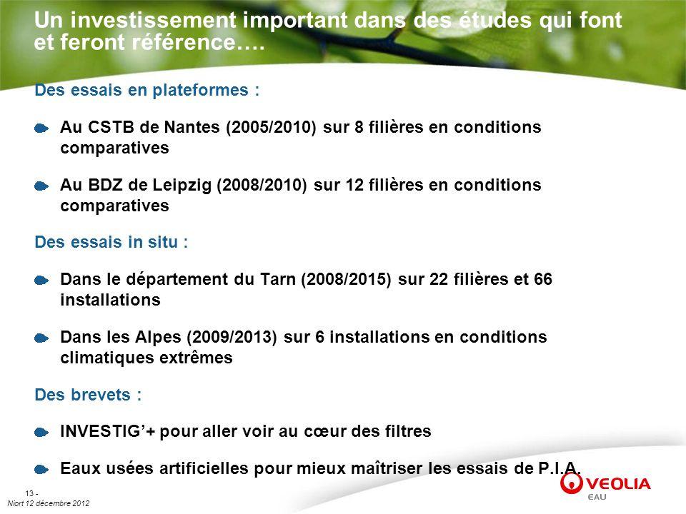 Niort 12 décembre 2012 13 - Un investissement important dans des études qui font et feront référence…. Des essais en plateformes : Au CSTB de Nantes (