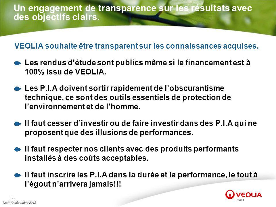 Niort 12 décembre 2012 14 - Un engagement de transparence sur les résultats avec des objectifs clairs. VEOLIA souhaite être transparent sur les connai