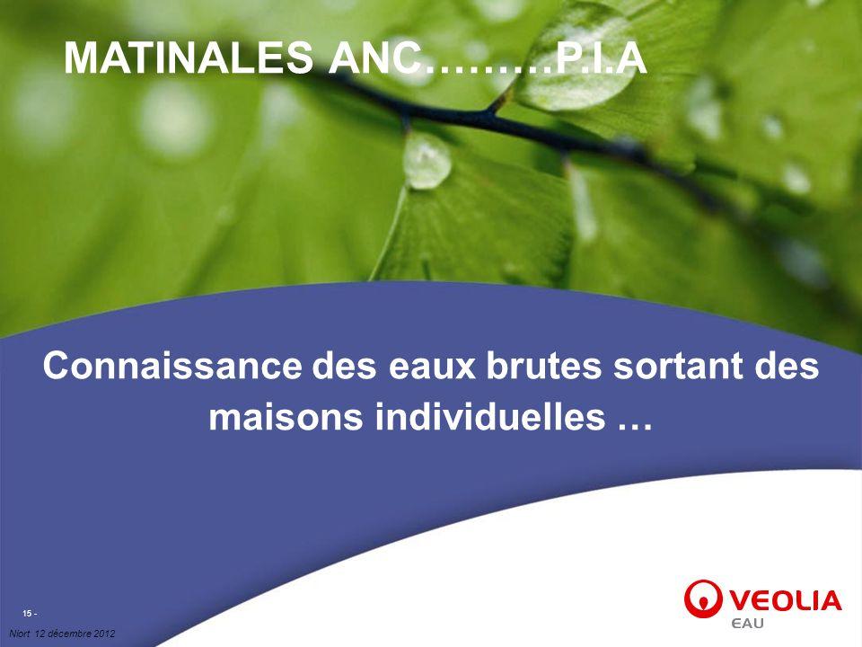 Niort 12 décembre 2012 15 - Connaissance des eaux brutes sortant des maisons individuelles … MATINALES ANC………P.I.A