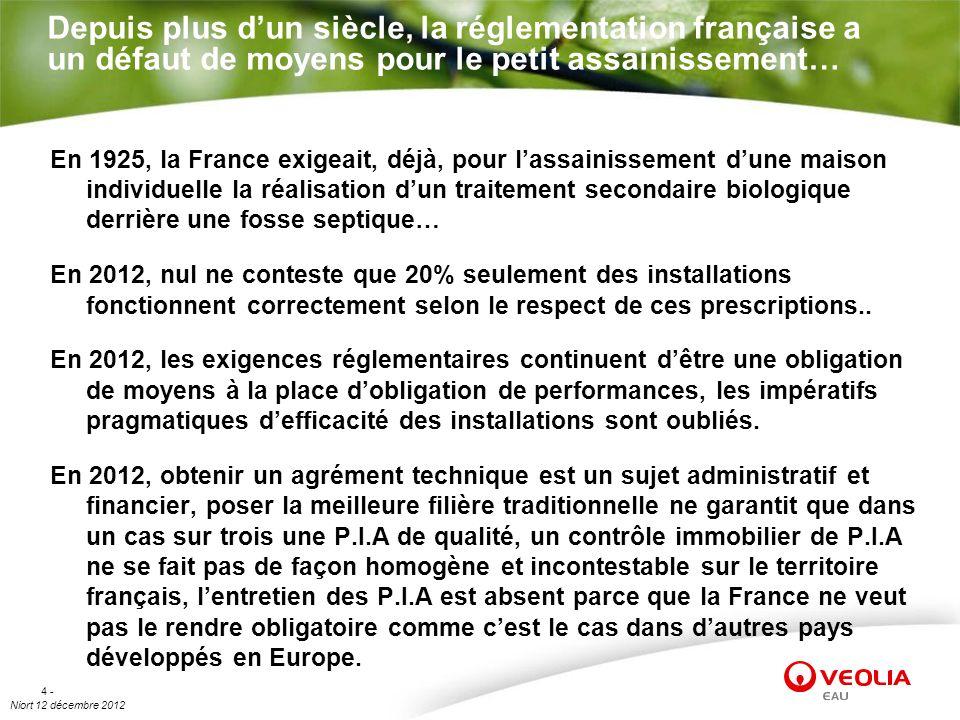Niort 12 décembre 2012 4 - Depuis plus dun siècle, la réglementation française a un défaut de moyens pour le petit assainissement… En 1925, la France