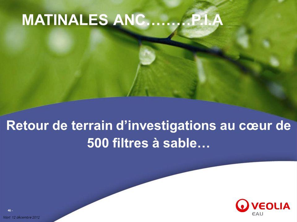 Niort 12 décembre 2012 46 - Retour de terrain dinvestigations au cœur de 500 filtres à sable… MATINALES ANC………P.I.A