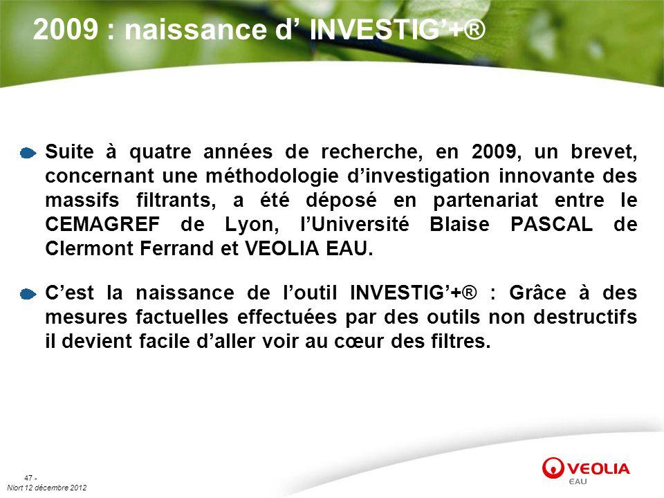 Niort 12 décembre 2012 47 - 2009 : naissance d INVESTIG+® Suite à quatre années de recherche, en 2009, un brevet, concernant une méthodologie dinvesti