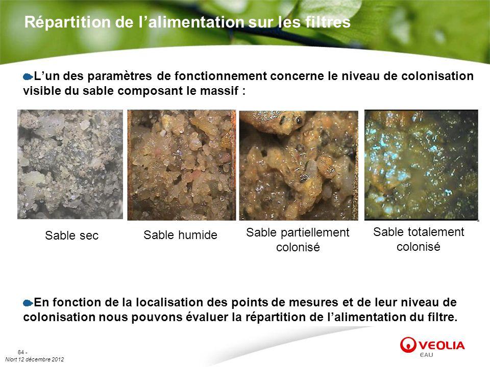 Niort 12 décembre 2012 64 - Répartition de lalimentation sur les filtres Lun des paramètres de fonctionnement concerne le niveau de colonisation visib