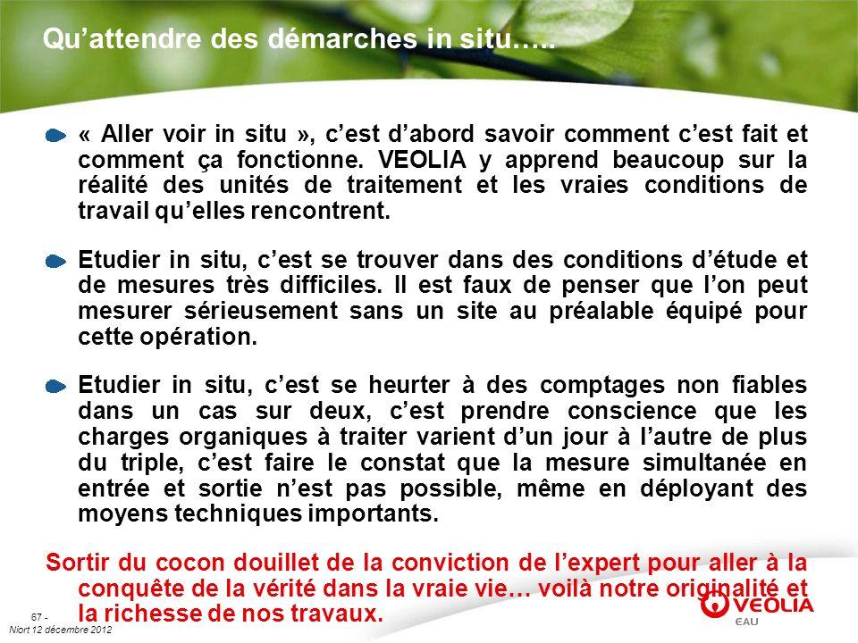 Niort 12 décembre 2012 67 - Quattendre des démarches in situ….. « Aller voir in situ », cest dabord savoir comment cest fait et comment ça fonctionne.