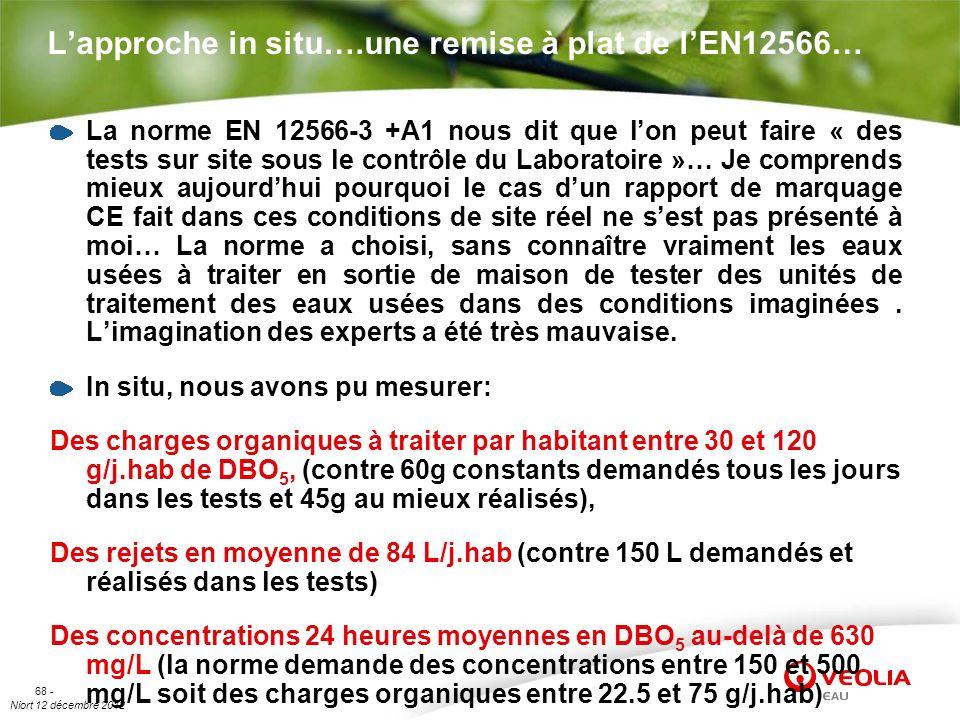 Niort 12 décembre 2012 68 - Lapproche in situ….une remise à plat de lEN12566… La norme EN 12566-3 +A1 nous dit que lon peut faire « des tests sur site