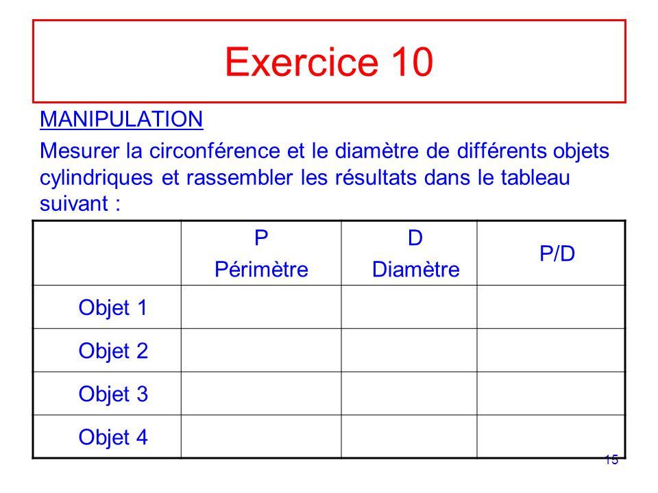 15 Exercice 10 MANIPULATION Mesurer la circonférence et le diamètre de différents objets cylindriques et rassembler les résultats dans le tableau suivant : P Périmètre D Diamètre P/D Objet 1 Objet 2 Objet 3 Objet 4
